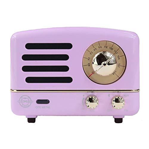 (Muzen Portable Wireless High Definition Audio FM Radio & Bluetooth Speaker, Metal Lavender, Travel Case Included - Classic Vintage Retro Design)