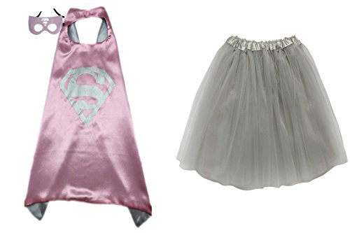[Superhero TUTU, CAPE, & MASK - Adult Teen Plus Womens Complete Halloween Costume (Regular Size Adult Tutu, Supergirl - Pink &] (Supergirl Costumes Pink)
