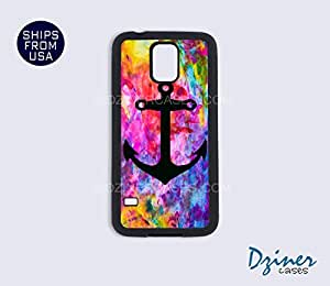 Galaxy S4 Heavy Duty Tough Case Cover - Colorful Print Black Anchor