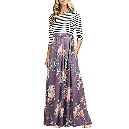 Todaies Women Striped Dress Print Patchwork Long Sleeve Dress Pocket High Waist Boho Long Maxi Dress (S, Blue)