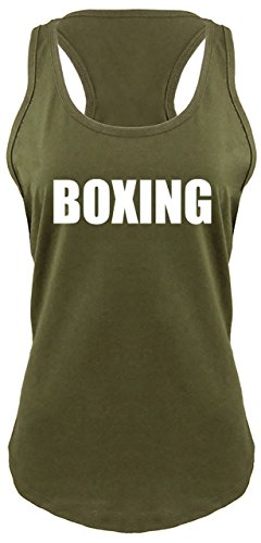 Ladies Racerback Tank Boxing T Shirt Fighter Fighting MMA Boxer Trainer Gym Military Green XS