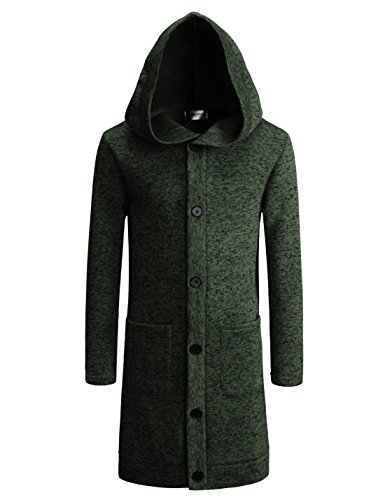 TheLees (NKTNC606) Mens Slim Fit Fleece Lining Hooded 6 Button Long Cardigan KHAKI US XL(Tag size XL) (Button Cardigan Toggle Sweater)