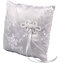 Ivy Lane Design Cherry Blossom Collection, Ring Bearer Pillow, White