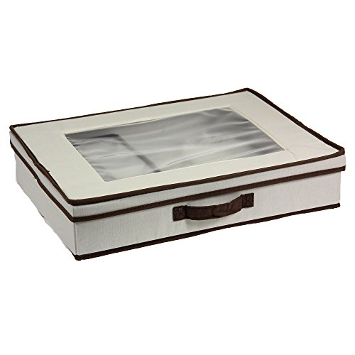 Household Essentials 545 Vision Storage Box With Lid And Handles | Tabletop  Linen Storage Set | Natural Canvas With Brown Trim