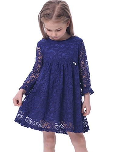 lace detail dress blue - 5