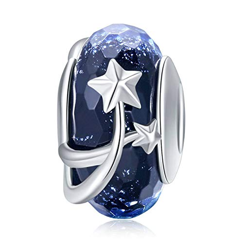 925 Sterling Silver Charm fit Pandora Charms Bracelet Murano Glass Bead Flower Charm Birthday Gifts Women Jewelry (Dark Blue) ()