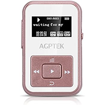 AGPTEK A12 8GB Clip Bluetooth Mp3 Player, Sports Clip Hi-Fi Sound Music Player with FM Radio, 1.1inch OLED, Sweatproof Silicone Case, Support up to 128GB, Rose Gold