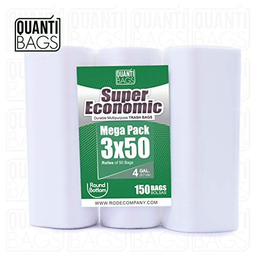 QuantiBags 4 Gallon Trash Bags, Wastebasket Liners Bags for Kitchen, Bathroom and Garden, Wastebaskets Bin (50 Counts/3 Rolls) from QuantiBags