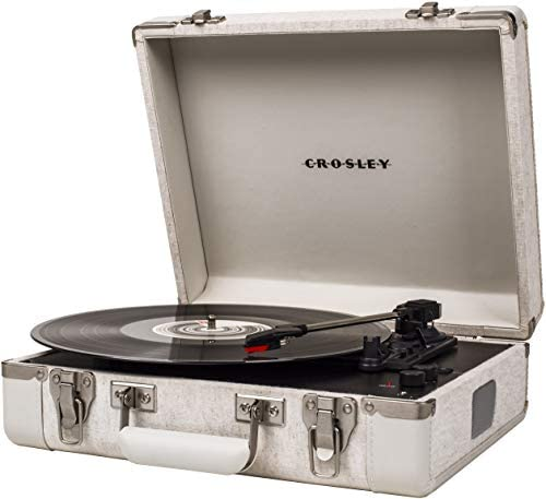 Crosley CR6019D-PNE Executive Vintage Bluetooth 3-Speed Portable Suitcase Turntable with USB
