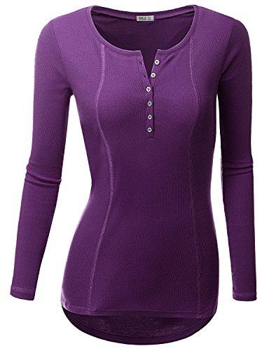 Doublju Women Comfortable Round Neck Long Sleeve Big Size Tee VIOLET,3XL