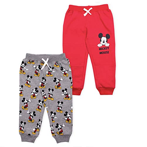 Disney 2-Pack Mickey Mouse Toddlers and Boys Joggers Pants and Pajamas Set, Red- 4T
