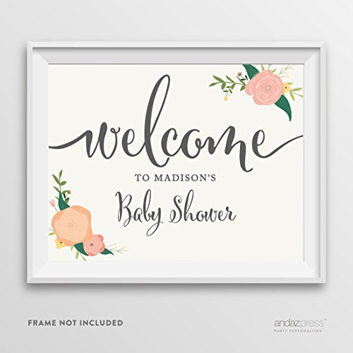 Andaz Press Personalized Baby Shower Party Signs, Floral Roses Print, 8.5-inch x 11-inch, Welcome to Madison's Baby Shower Sign, 1-Pack, Custom Made Any Name
