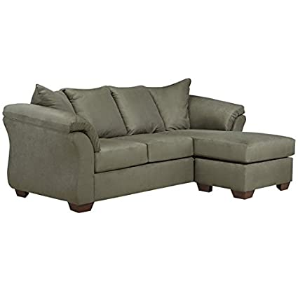 Superb Amazon Com Signature By Ashley Sofa Chaise In Sage Fabric Interior Design Ideas Ghosoteloinfo