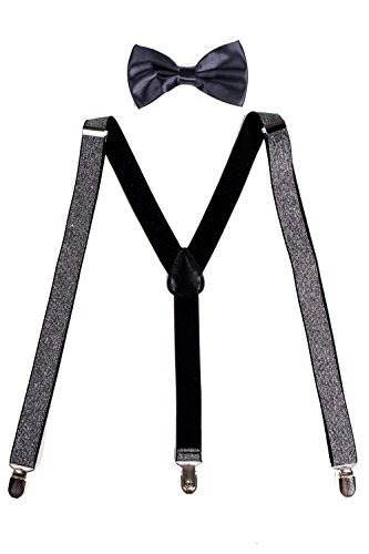 Sunny Ocean Mens Braces for Trousers Grey Bow Tie Clip On Suspenders Glitter Grey (Glitter Suspenders)