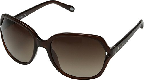 Fossil Women's FOS3020S Square Sunglasses, Transparent Brown, 58 ()