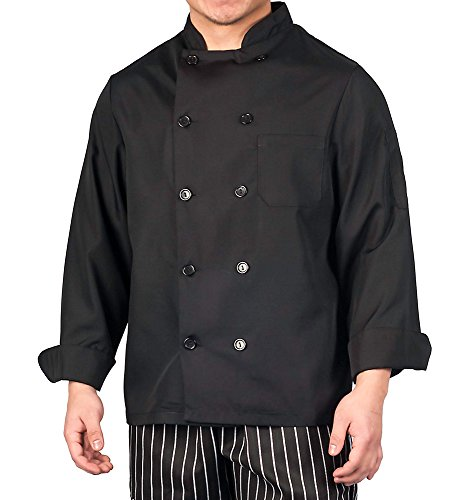 KNG Lightweight Long Sleeve Chef Coat,Black,X-Large ()