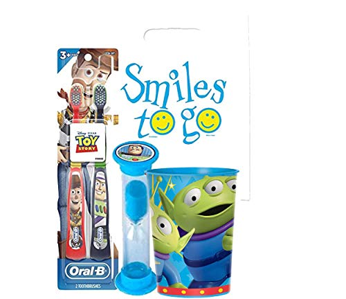 Toy Story 4pc Toddler Training Bright Smile Oral Hygiene Bundle! 2pk Soft Manual Toothbrush, Brushing Timer & Mouthwash…