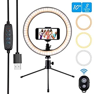 Ring Light 10″ Selfie Light Ring with Tripod Stand & Phone Holder & Remote Control 3000-5500K 3 Modes and 10 Brightness LED Desktop Selfie Ring Light for YouTube Video/Live Stream/Makeup/Photography