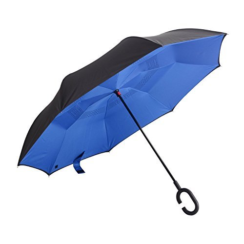 Hemoo Double Layer Inverted Umbrella Reverse Umbrella 42.5'' Canopy Windproof With Hand Free C-Shaped Handle (Blue)