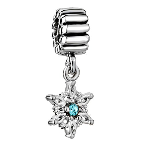 CharmSStory Snowflake Charms Blue Synthetic Crystal Dangle Silver Plated Charm For Bracelets
