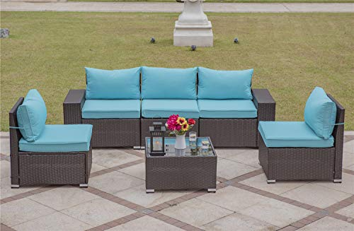 Gotland Outdoor Patio Furniture Set 6 Pieces Sectional Rattan Sofa Set Manual Wicker Patio Conversation Set with A Tempered Class Table(Dark Brown PE Wicker,Turquoise Blue Covers)