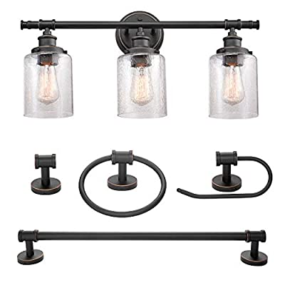 """Globe Electric 51415 Camden 5-Piece All-In-One Bathroom Set, Bronze - ALL IN ONE: update your bathroom easily with a matching 3-light vanity fixture, towel bar, toilet paper holder, towel ring and robe hook with a vintage bronze finish VINTAGE INDUSTRIAL: an industrial pipe design is added to a vintage inspired look to create a vintage industrial kit that complements your existing décor MEASUREMENTS: Bar: 21. 28"""" W x 2. 72"""" D; Towel Ring: 7"""" W x 8"""" H x 2. 72"""" D; Robe Hook: 2. 2"""" W at the base x 2. 72"""" D; Toilet Paper Holder: 6. 7"""" W x 2. 72"""" D; Vanity: 23. 24"""" W x 11. 51"""" H x 7. 03"""" D; Shades: 4. 73"""" W x 4. 73"""" D - bathroom-lights, bathroom-fixtures-hardware, bathroom - 41mmwfpkZjL. SS400  -"""