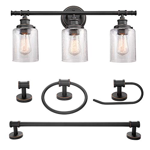 Camden 5-Piece All-in-One Bathroom Set, Bronze, 3-Light Vanity Light with Seeded Glass Shades, Towel Bar, Towel Ring, Robe Hook, Toilet Paper Holder (Glass Bathroom Vanity Set)