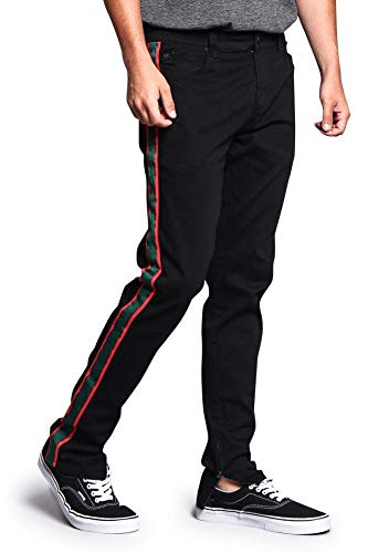 Stripe Pants Bootcut - Victorious Trackpant Style Green-Red Side Stripe Pants with Ankle Zipper DL1163 - Black - 30/30 - O1F