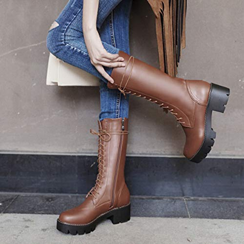 Fheaven Motorcycle Boot Women's Cross-Tied Thick-Soled Anti-Slip Mid Calf Boots Shoes (US:7, Brown) - Classic 9' Side Zip Boot
