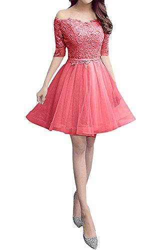 La Langarm Wassermelon mia Damen Abschlussballkleider Cocktailkleider Mini Braut Spitze Kurz Abendkleider BP41qwBxr