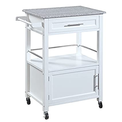 White Linon Storage Cart On Wheels With Granite Top. Great For Small  Kitchens!