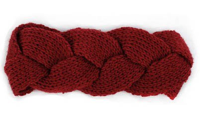 S Cloth Dark Red Winter Headwrap Crochet Knit Ear Twist Warmer Head Wrap Headband Women Hair Band