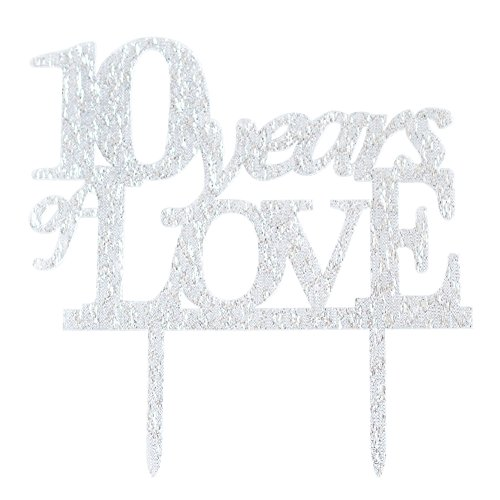 Glitter Silver Acrylic 10 Years Of Loved Cake Topper Decorat