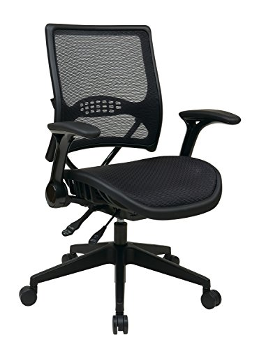 SPACE Seating AirGrid Dark Back and Seat, Multi Function 4-Lever Control, Flip Arms, Pneumatic Seat Height Adjustment…