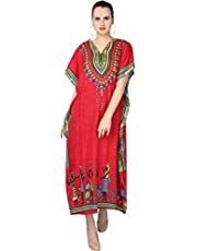 فستان حريمي SKAVIJ طويل من نسيج الفيسكوز بطباعة أزهار الكافتان (مقاس مجاني)