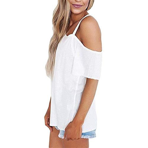 Casual Courtes Branch Une Femme Manche HX fashion Shirts Manches Chemisiers Et paules Uni Blanc Vetement Unique Chemise Nues lgant Shirt Epaule Mode Sling Basic HqHaTxn