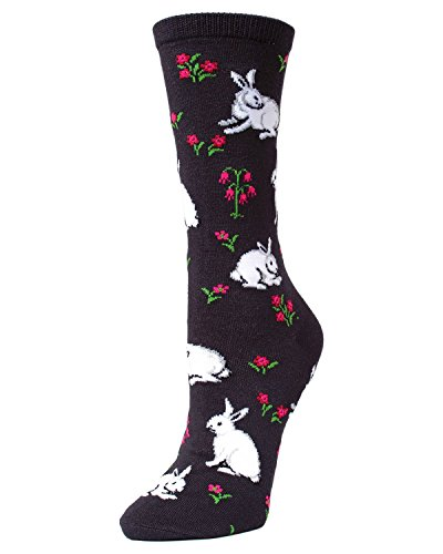 (MeMoi Bunny and Flower Bamboo Crew Socks | Women's Fun Novelty Socks Black MF7 913 One Size 9-11)