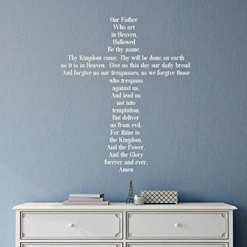 The Lord s Prayer Wall Decor, Religious Cross Decal, 30 x 36 White Print, Religious Christmas Gift