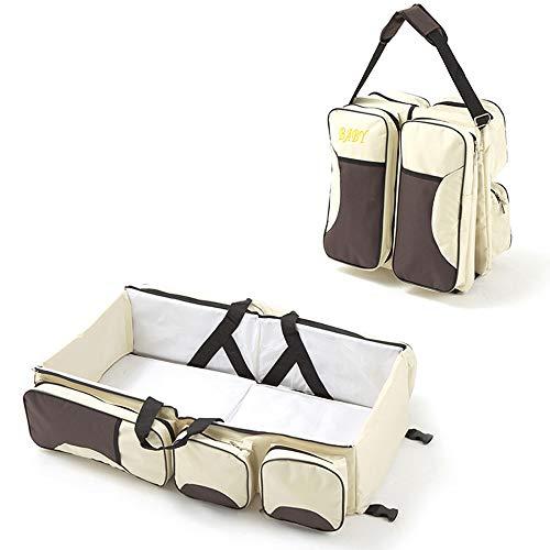 접이식 침대 휴대용 아기 침대 아기 침대 용 운반 침대 대용량 다기능 소녀 소년 숄더백 아기 데리고 여행 외출 등 0 ~ 12 개월의 어린이를 위한 (White) / Folding Crib Portable Crib For Crib Carrying Bed Large Capacity Multifunction Girl Bo...