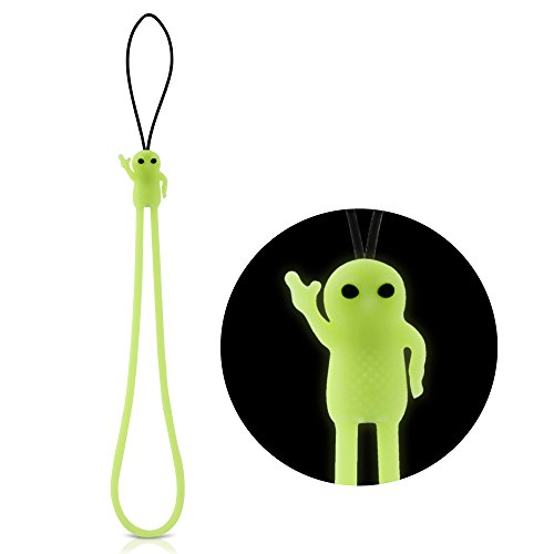 Hand Wrist Strap Lanyard, Cute Cartoon Novelty Cell Phone Charm Elastic Silicone Wristlet Short String for iPhone Case Keys Keychain USB Flash Drive Name Tag ID Badge Holder Camera - Luminous Alien - Remote Lanyard Replacement
