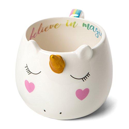 White Ceramic Coffee or Tea Mugs: Tri-Coastal Design Novelty Unicorn Coffee Mug with Rainbow Printed Handle, Fun Unicorn Horn and Printed Saying - 14 Fluid Ounce Large, Cute Handmade Cup