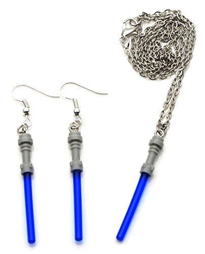 Mainstreet247 Star Wars Blue Lightsaber Pendant Necklace and Dangle Earrings Set (Star Earrings Wars Lightsaber)