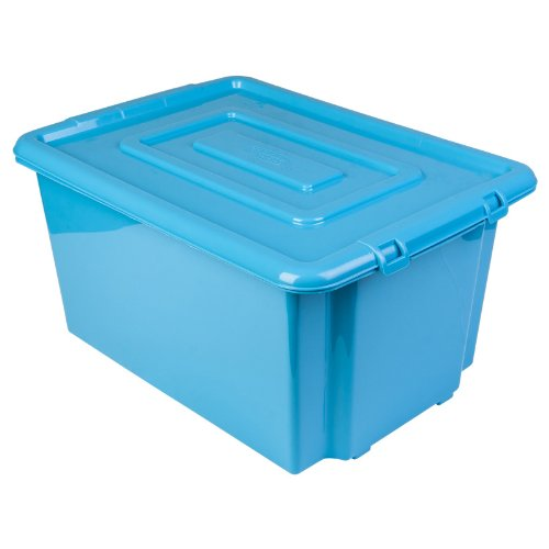 Ordinaire New Whitefurze Plastic Stackable Blue Container Large Storage Box With Lid  52l: Amazon.co.uk: Kitchen U0026 Home