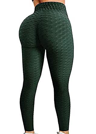FITTOO Women's Honeycomb Ruched Butt Lifting High Waist Yoga Pants Chic Sports Stretchy Leggings Peacock Green(S)