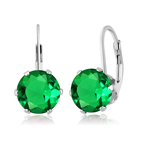 - Gem Stone King 3.30 Ct Round Green Simulated Emerald 925 Sterling Silver Earrings