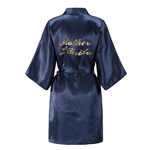 EPLAZA Women's One Size Bride Bridesmaid Short Satin Robes with Gold Glitter for Wedding Party Getting Ready (Navy, Mother of The Bride)