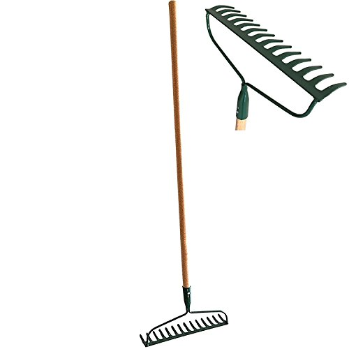 - #1 HEAVY-DUTY Garden Bow Rake Wood Handle Landscape Cultivator Gardening tool for loosening and leveling mulch, peat moss and loose or heavy soils 14-Tine Tempered Steel head and extra thick end teeth