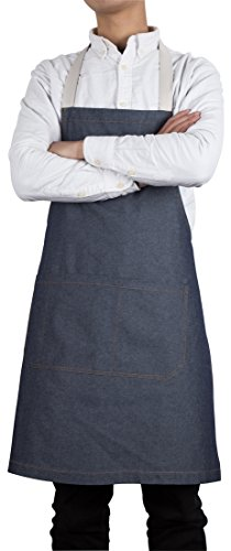 Denim Bib Apron with Pockets for Men and Women Crafting Shop Apron Easy Care Designs by Flying Frog Frog Denim