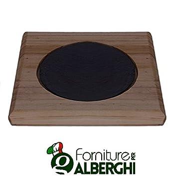 Plato Bandeja tabla de pizarra rectangular y orificio redondo con madera Bamboo Dim. CM 33