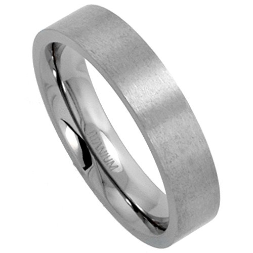Sabrina Silver 5mm Titanium Wedding Band/Thumb Ring Plain Flat Comfort-Fit Brushed 5/16 inch, size -